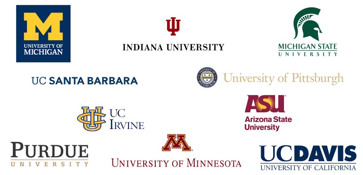 The SEISMIC member institutions are University of Michigan, Indiana University, Michigan State University, UC Santa Barbara, University of Pittsburgh, UC Irvine, Arizona State University, Purdue University, University of Minnesota, and US Davis